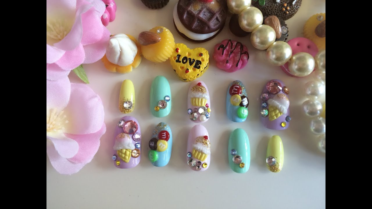Japanese 3d nail art tutorial ice cream youtube prinsesfo Gallery