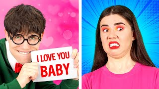 TYPES OF CRAZY BOYFRIENDS || Popular VS Nerd! Relationship Struggles At School By 123 GO! BOYS
