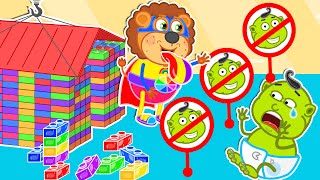 Lion Family   Don't Break My Lego Playhouse ! Let's Play Together ! Cartoon for Kids