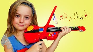 Ulya Plays with Violin Music Toy & Sings Songs