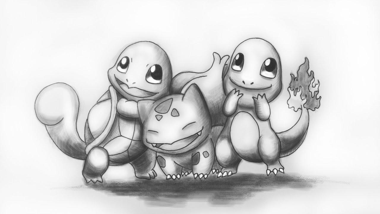 Pokemon Drawing Squirtle Bulbasaur Charmander Mickirway
