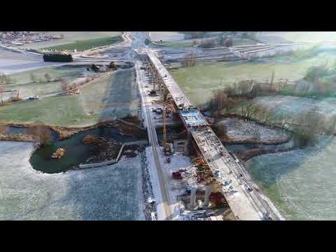 Luftaufnahmen der Autobahn A94 Isentalbrücke Stand 10.12.2017