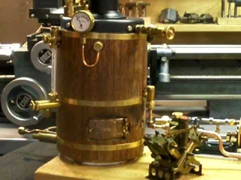 Vertical fire tube gas fired live steam copper model launch boiler