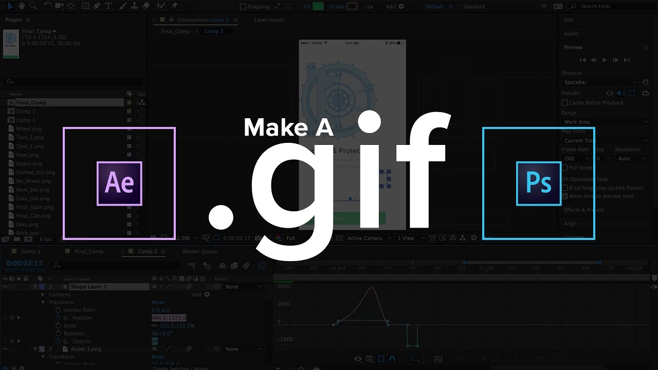 Make animated GIFs in After Effects and Photohsop (2017)