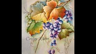 Como pintar um galho de uvas com folhas. Projeto gratuito A parreira. Aula 3