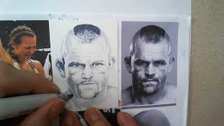 drawing a sketch card of UFC fighter Chuck Liddell with copic markers