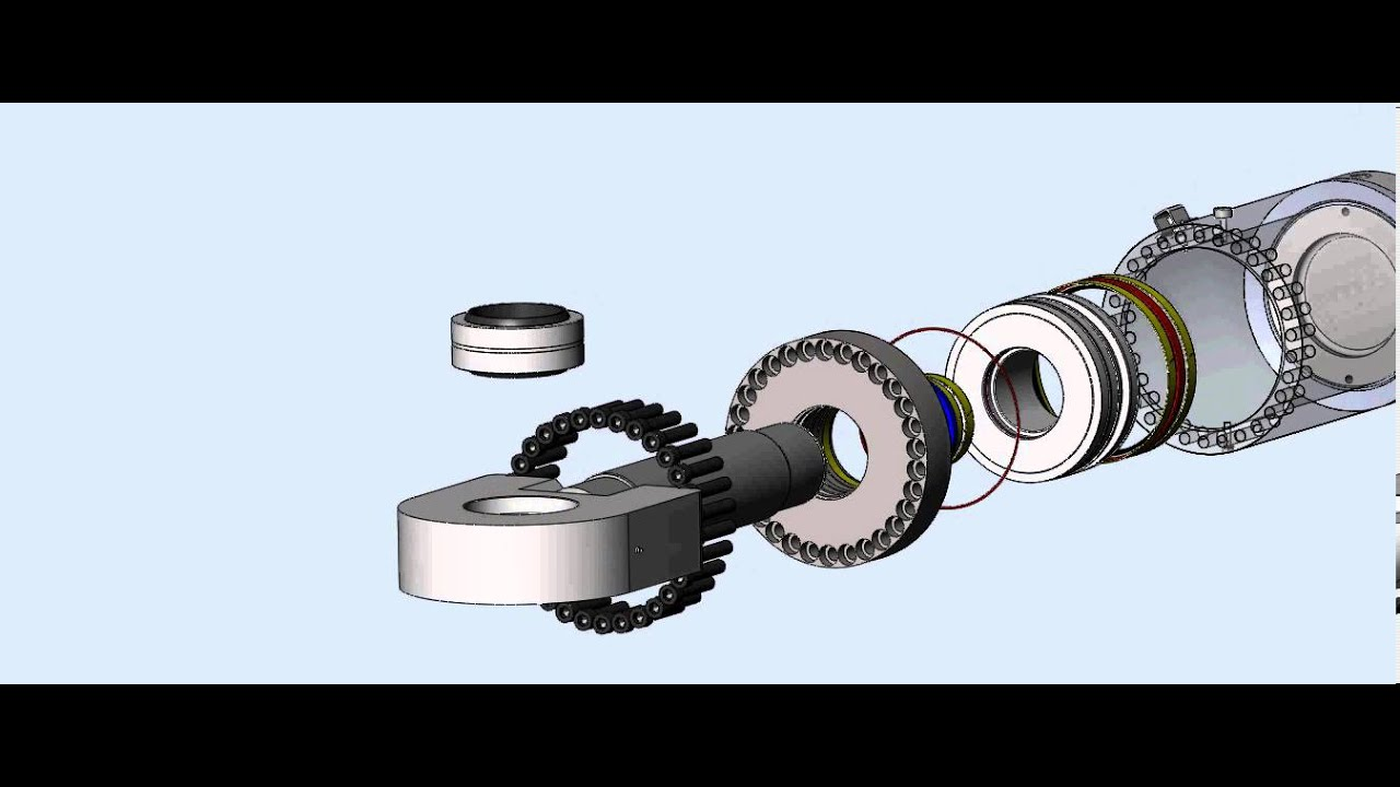 Exploded View 3d Solidworks Animation Of Hydraulic Cylinder And