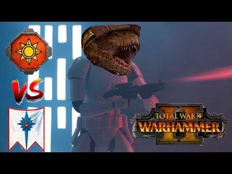Lizardmen vs High Elves | ENGAGE THE LASERS - Total War Warhammer 2
