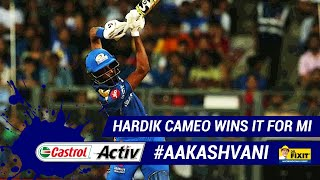 #IPL2019: HARDIK cameo wins it for #MI: 'Castrol Activ' #AakashVani, powered by 'Dr. Fixit'