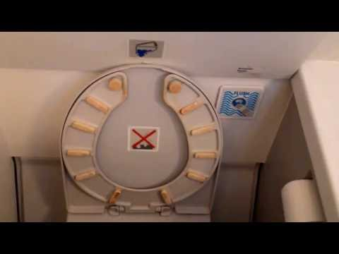 Public toilet on Iberia Airbus A319B flying from Madrid to Moscow