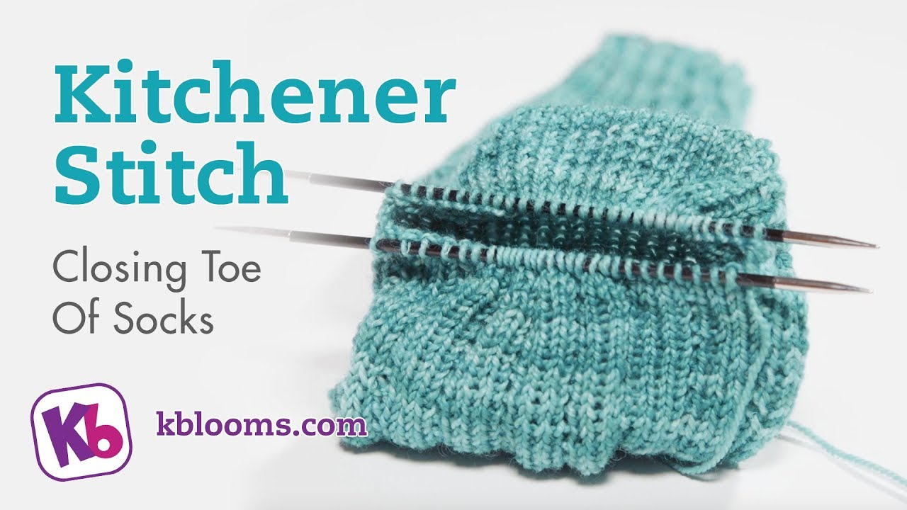 Removing sock from loom and closing toe with kitchener stitch - YouTube