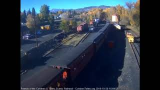 10/20/2018 A 11 car train 215 arrives into Chama, NM on the next to last day of the season