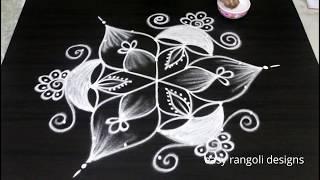 Diya rangoli and kolam designs for Diwali 2018 || Deepavali muggulu with 7 dots