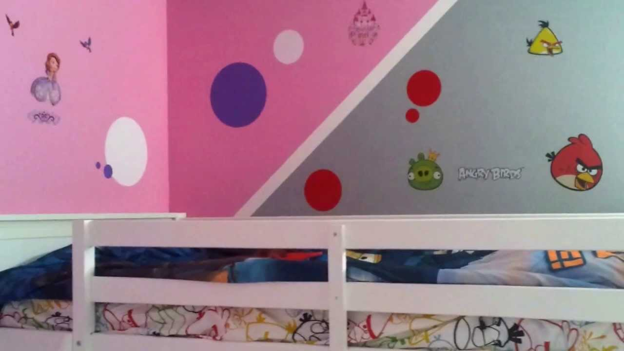How To Decorate A Boy And Girl Shared Bedroom Angry Birds U0026 Sofia The First  Kids Bed Room Cute Ideas   YouTube