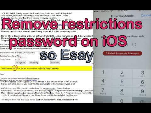 Free Reset or Remove restrictions password on iOS on iPhone and iPad
