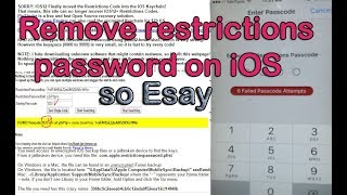 Reset / Remove restrictions password on iOS on iPhone and iPad , all iOS Version