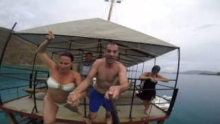 Jumping off the back of Willie T's in the British Virgin Islands