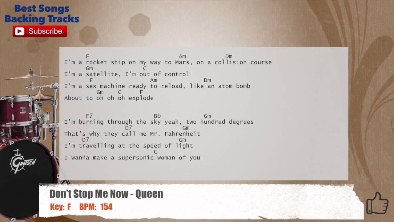 Don't Stop Me Now - Queen Drums Backing Track with chords ...