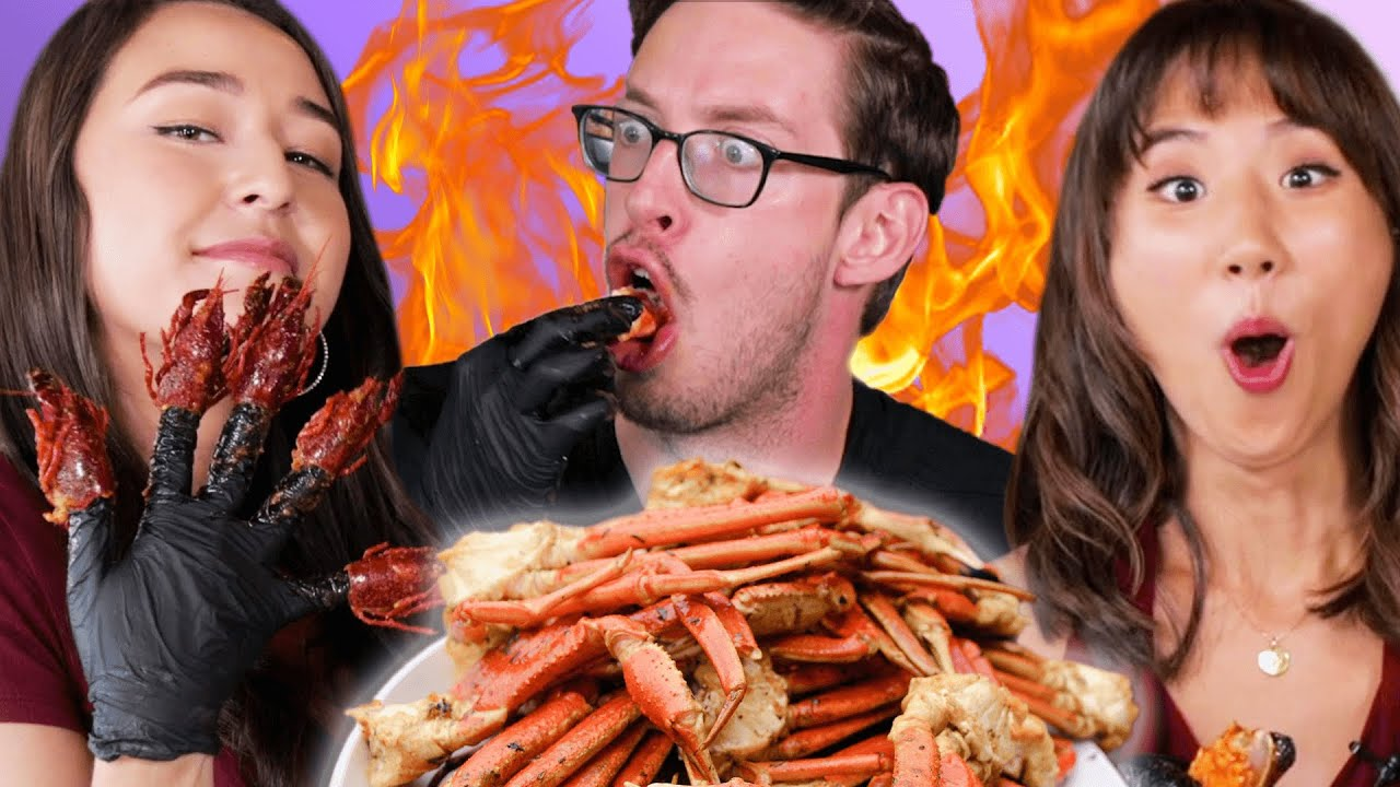 Try Guys 5 lb. Spicy Seafood Mukbang ft. The Food Babies