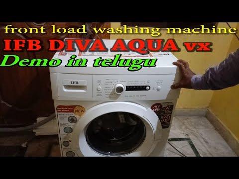 front load washing machine IFB DIVA AQUA demo in telugu