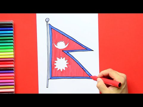 How to draw and color the National flag of Nepal