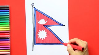 How to draw and color the Flag of Nepal