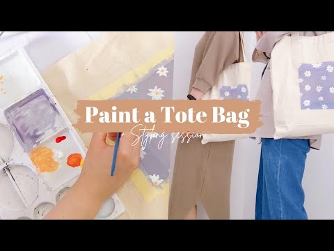 Painting My Tote Canvas Bag + Styling Session | Aesthetic Lilac Tote Bag - YouTube