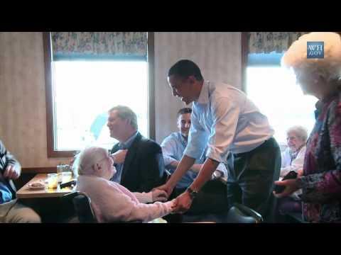 Obama & 107 Yr Old In Iowa Diner
