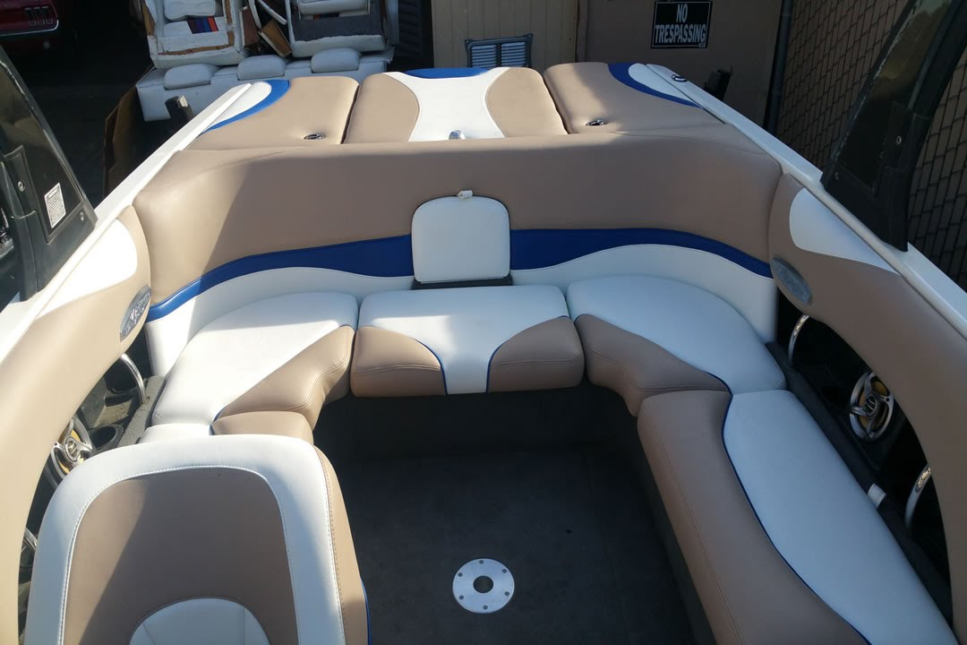 Boat Re-upholstery with White Beige and Blue Vinyl