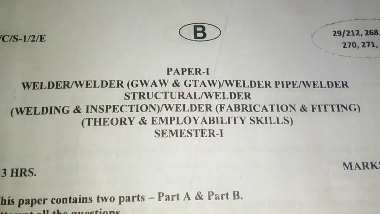 iti welder ncvt exam paper semester 1 youtube