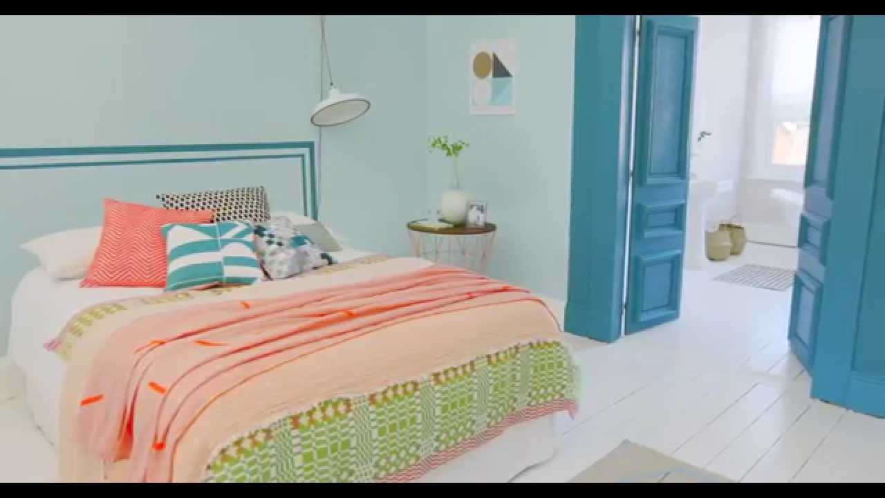 Bedroom Ideas: A Coral & Teal Colour Scheme with Dulux - YouTube