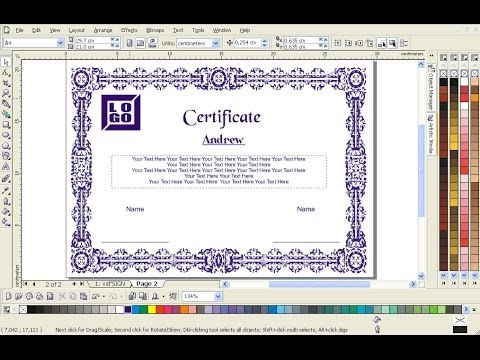 How to design a certificate using coredraw very simple youtube yadclub Gallery