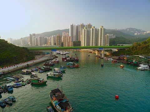 4K Drone Video - Ap Lei Chau, Aberdeen Harbour, Hong Kong