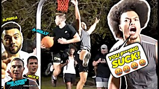 """You F***ING SUCK!"" YouTubers vs D1 & Pro Hoopers GETS HEATED!! Ballislife Squad vs TRASH TALKERS!"