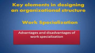 Key Elements In Designing An Organizational Structure Work Specialization
