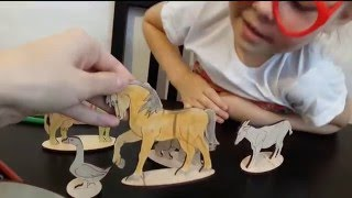 Відкриваємо набір дерев'яних іграшок woody ''Домашні тварини''