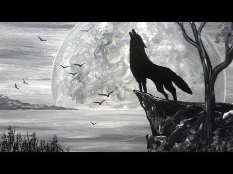 Wolf black white acrylic painting on canvas for White and black paintings