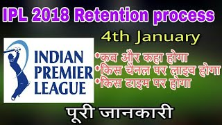 IPL 2018 retention process live telecast,live streaming channels,date, and time