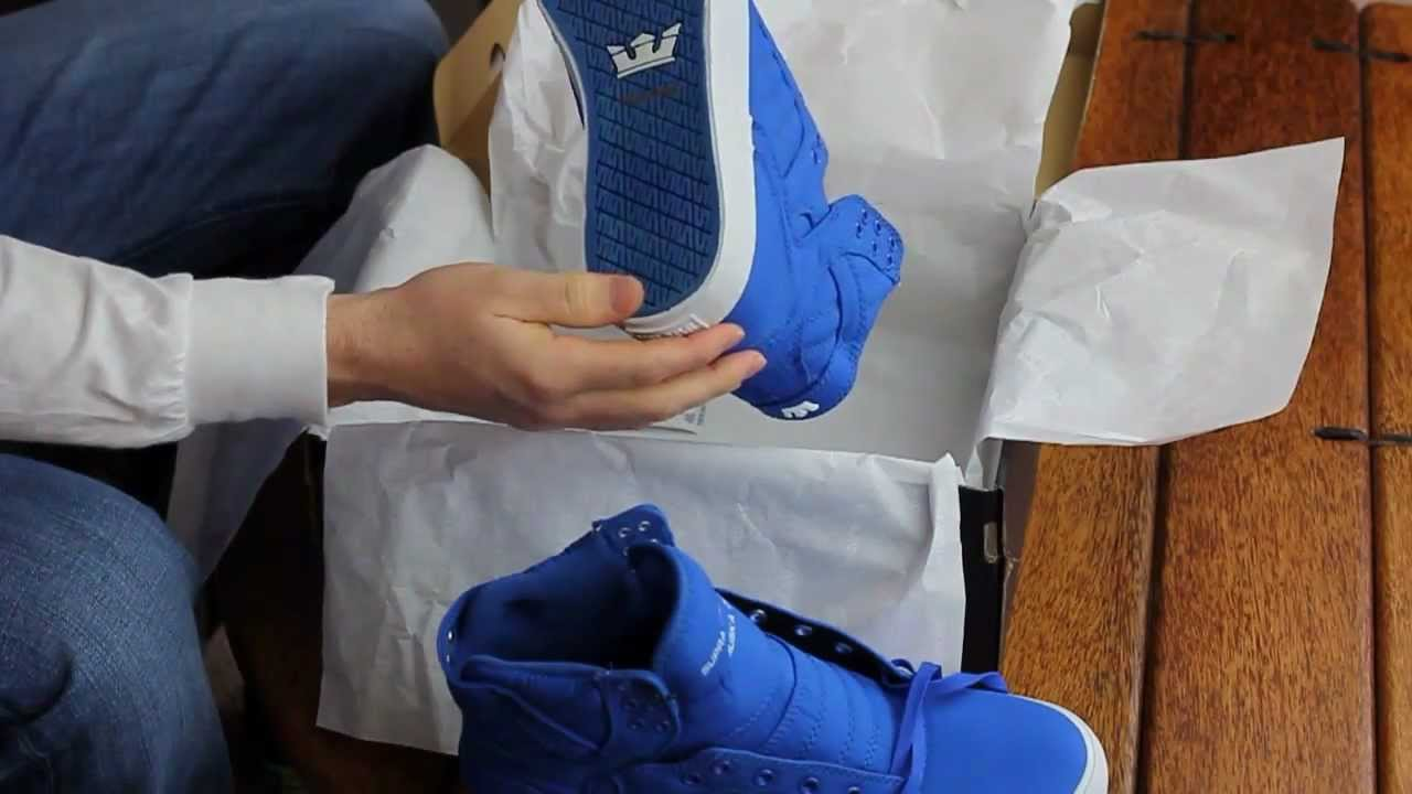 Supra Skytop Royal Nylon Blue Unboxing and On Feet - YouTube 896f1b58c8