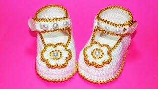 Пинетки крючком крестильные. МК. DIY booties crochet