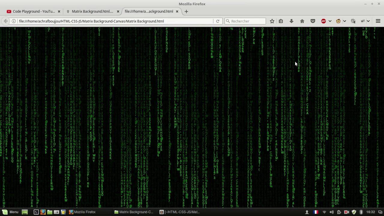 Code Playground Matrix Background Html Css Js