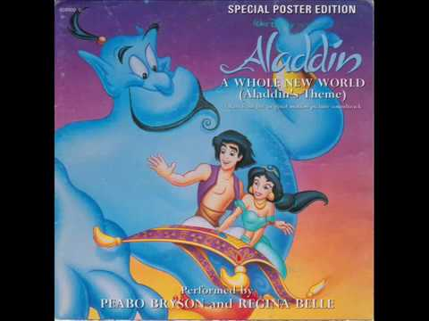 """A Whole New World (Aladdin's Theme) - Regina Belle & Peabo Bryson - Poster Cover Vinyl 7"""" Single"""