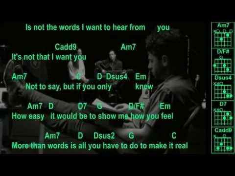 Extreme - More Than Words - Instrumental - Chords & Lyrics - YouTube