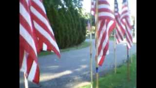 Flags and 9/11 Memorial in Clifton, New Jersey