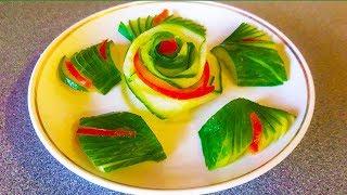 Лайфхаки  украшения блюд | Как красиво нарезать овощи и оформить праздничный стол | Карвинг - огурец
