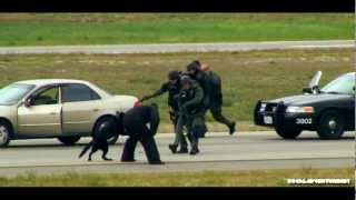 Police Pursuit and Helicopter Chase with K9 Attack - Riverside Airshow Demostration
