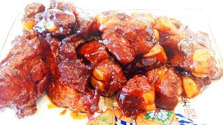Китайская кухня. Очень вкусные свиные хрящики  红烧猪软骨 mp4