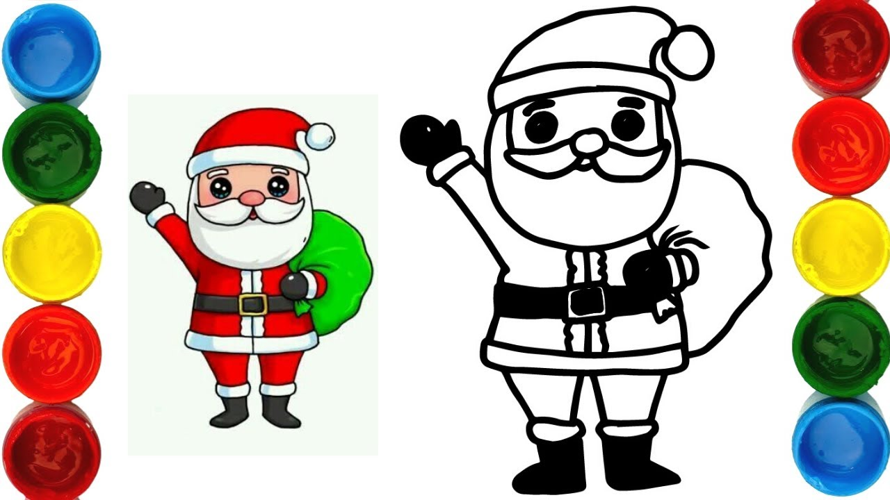How To Draw Christmas | Coloring Page With Singing Santa ...