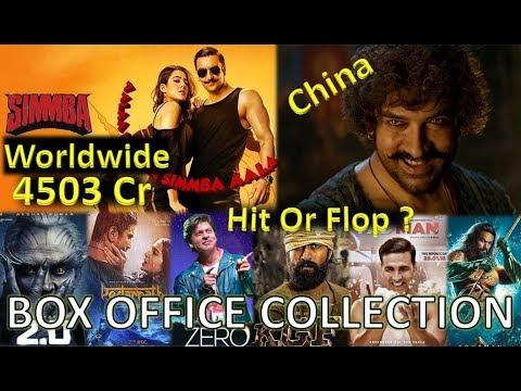 Box Office Collection Of Simmba, Zero, KGF, Robot 2 0, Thugs Of Hindostan  Movie Etc 2018