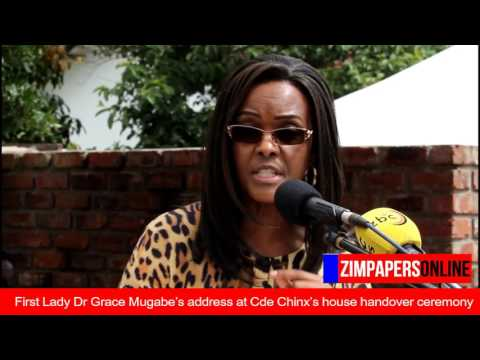 First Lady Dr Grace Mugabe speaks at Cde Chinx's house handover ceremony